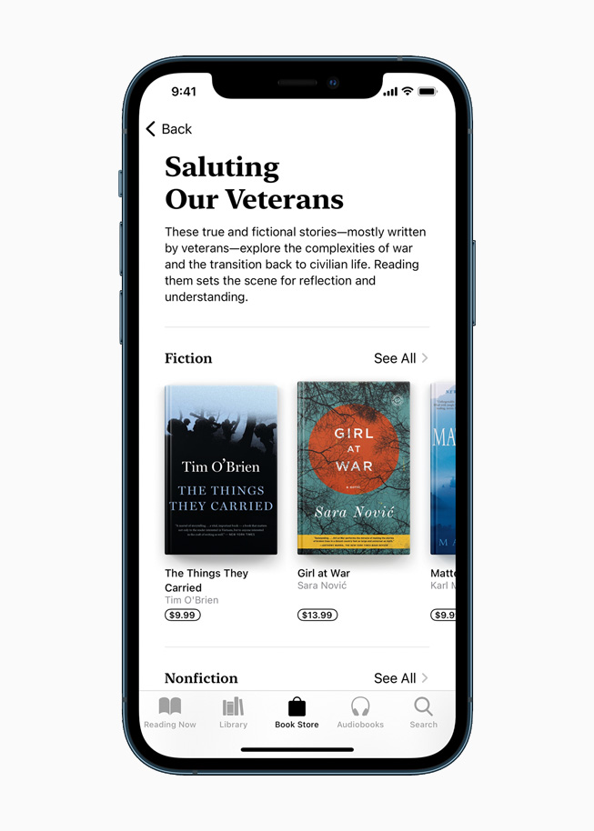 Saluting Our Veterans Apple Books collection displayed on iPhone 12 Pro.