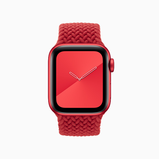 Apple Watch Series 6 (PRODUCT)RED with matching (PRODUCT)RED Braided Solo Loop band.
