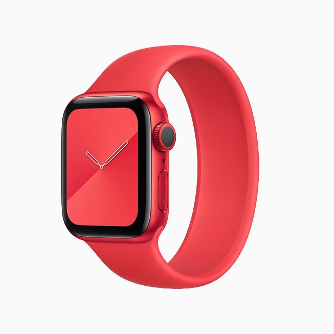 Apple Watch Series 6 (PRODUCT)RED con correa uniloop trenzada (PRODUCT)RED que combina a la perfección.