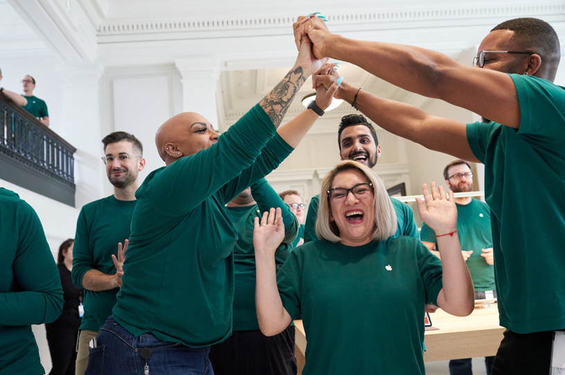 Apple team members at an Apple retail store opening.