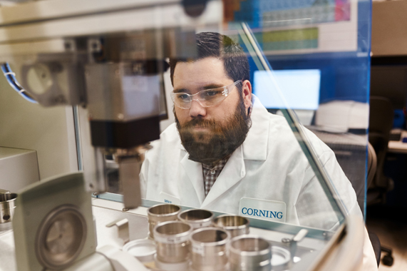 An employee at the Corning facility in Harrodsburg, Kentucky.