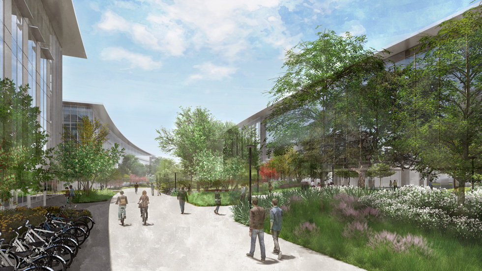 Rendering of Apple's Austin, Texas, campus apple stock news