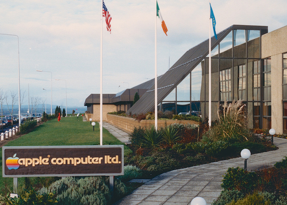 A roadside view of Apple's Cork, Ireland, campus in 1986.
