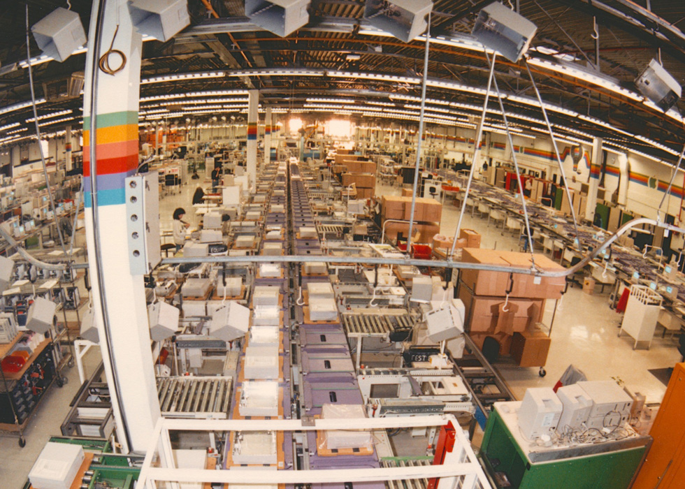 Wide shot of the Mac assembly line at Apple's Cork, Ireland, campus.