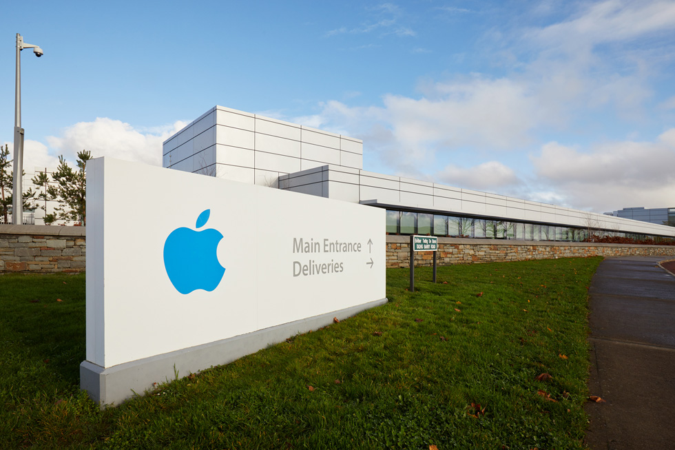 A present-day roadside view of Apple's Cork campus in Ireland.