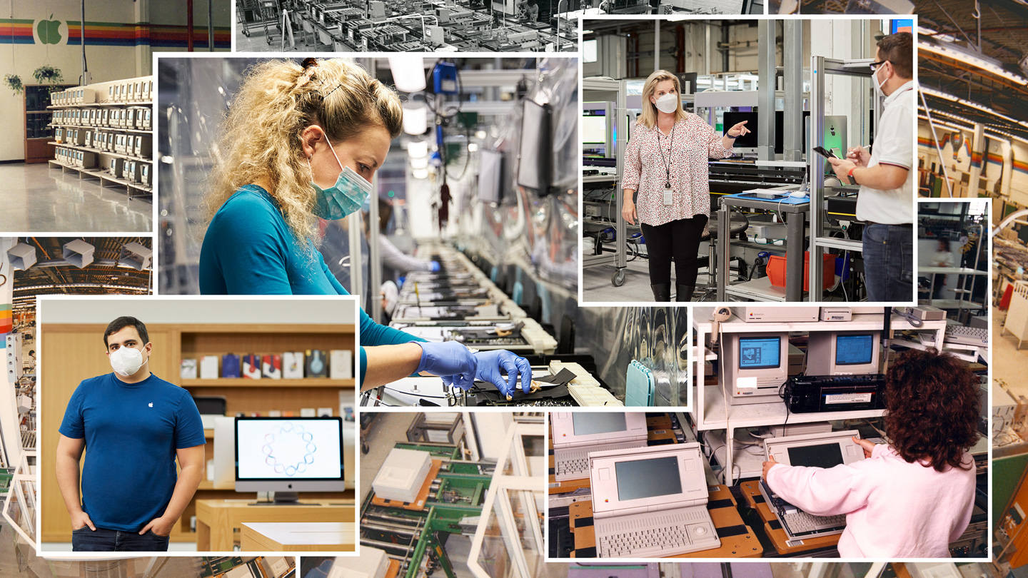 Collage of Apple employees working at Apple's Cork, Ireland, campus throughout the past 40 years.