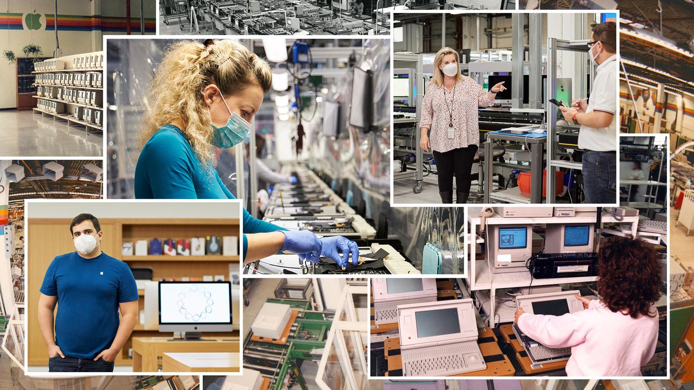 Collage von Apple Mitarbeitern, die die letzten 40 Jahre auf dem Apple Campus in Cork, Irland, gearbeitet haben.