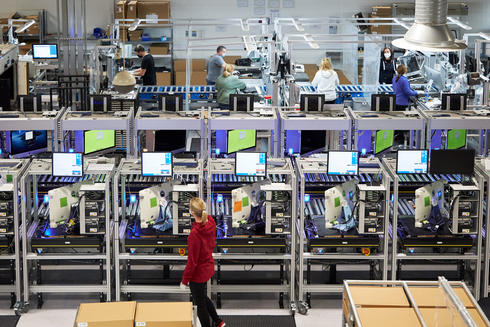 Apple employees working on the Mac production line at the Cork campus in Ireland.