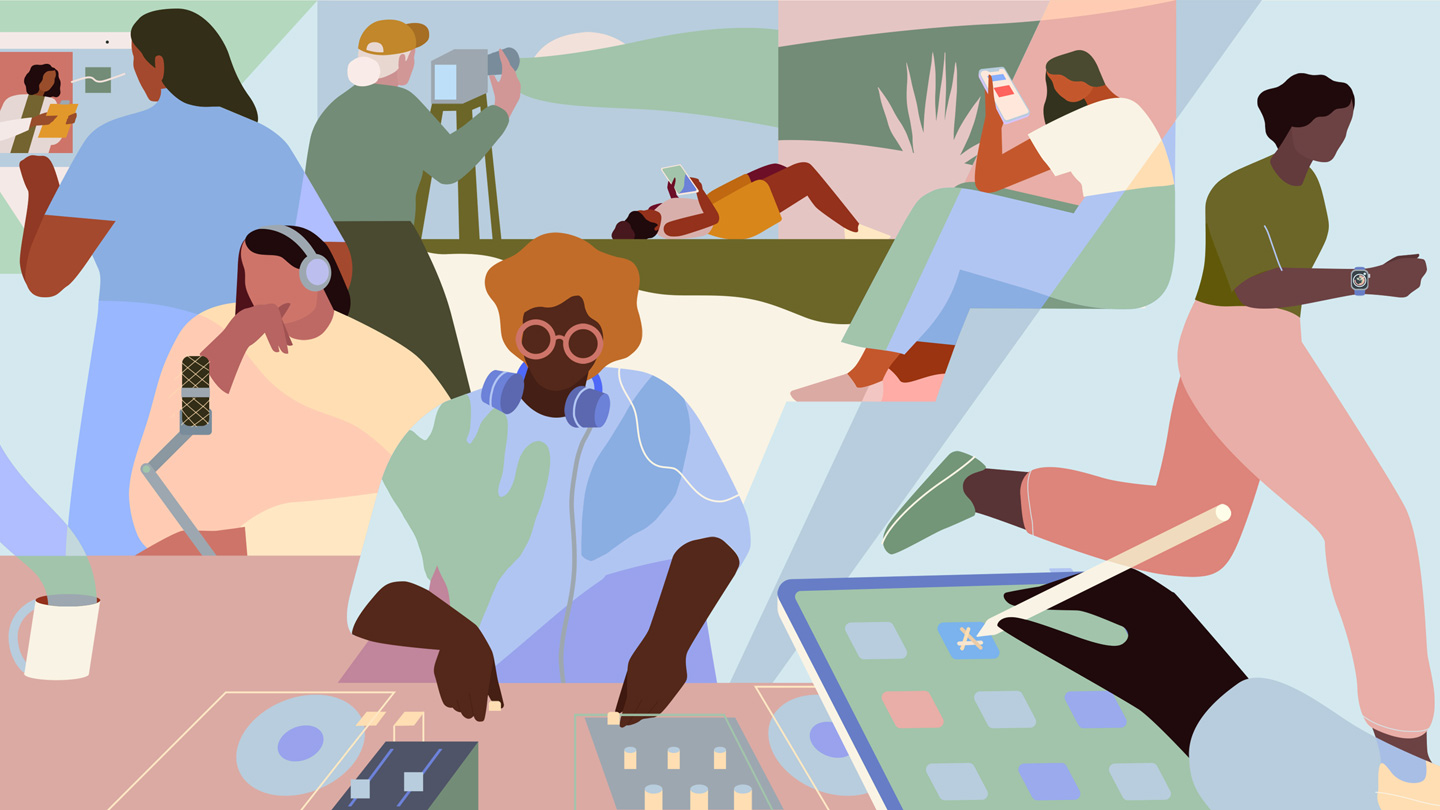 Illustration featuring women in music, podcasting, medicine, filmmaking, and other fields.