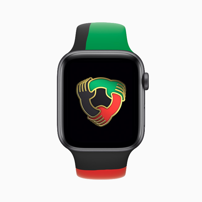 A badge from the Unity Activity Challenge is displayed on Apple Watch Series 6.