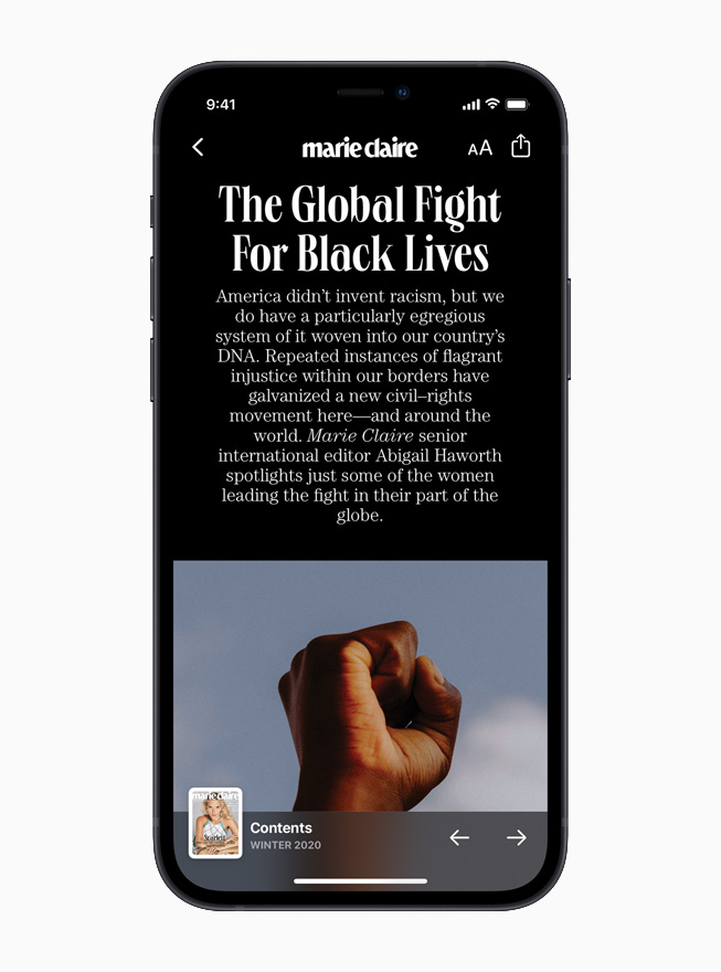 Marie Claire on Apple News is displayed on iPhone 12.