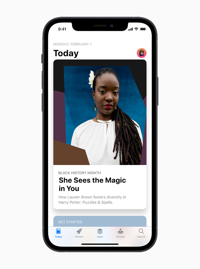 The App Store Black History Month Hub is displayed on iPhone 12.