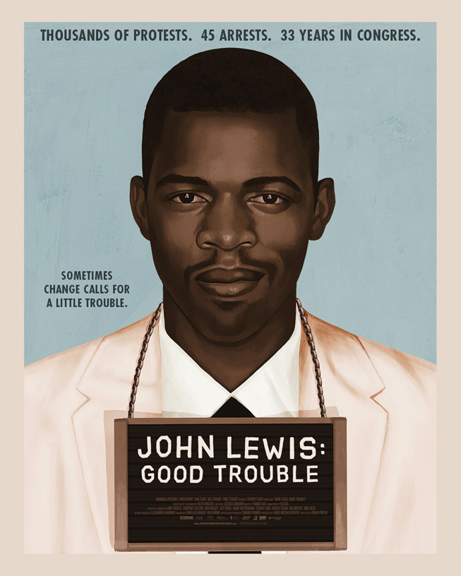 "A promotional poster featuring a young John Lewis for the documentary ""John Lewis: Good Trouble."""