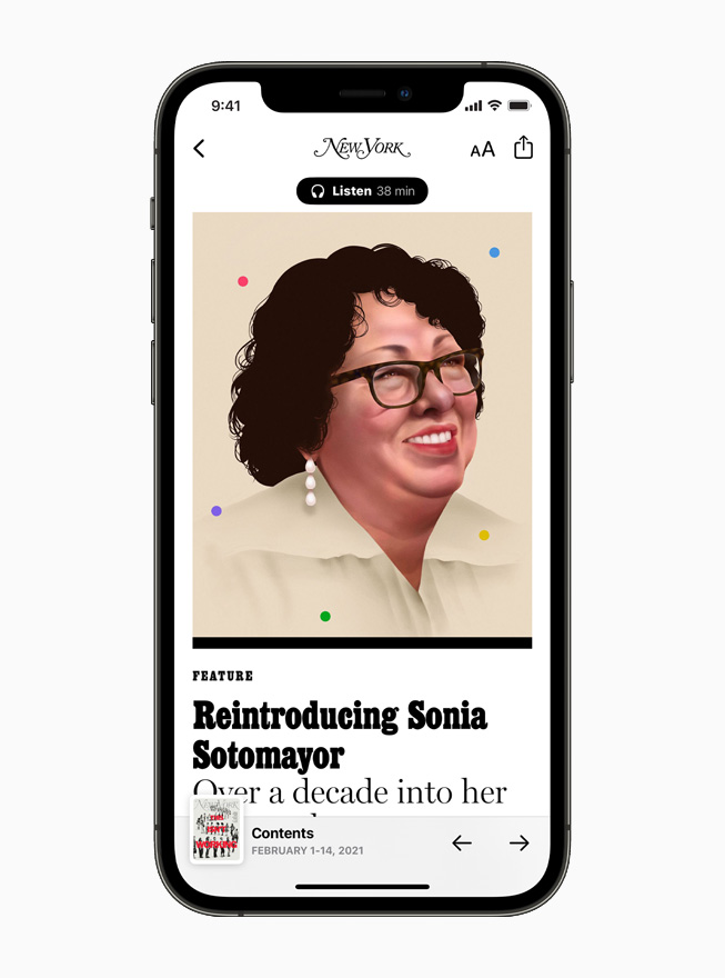 New York magazine profile of Sonia Sotomayor on Apple News, displayed on iPhone 12.