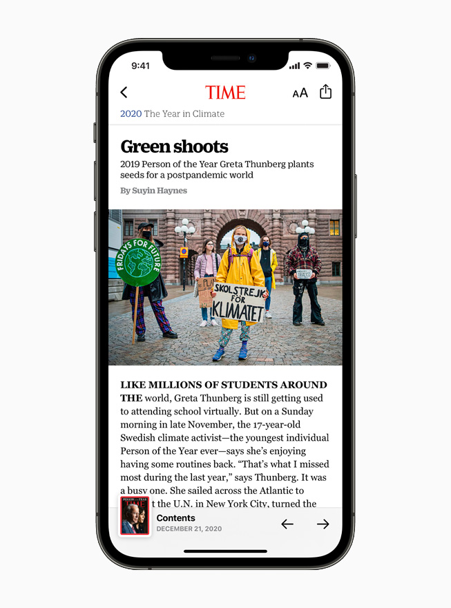 TIME magazine profile of Greta Thunberg on Apple News, displayed on iPhone 12.