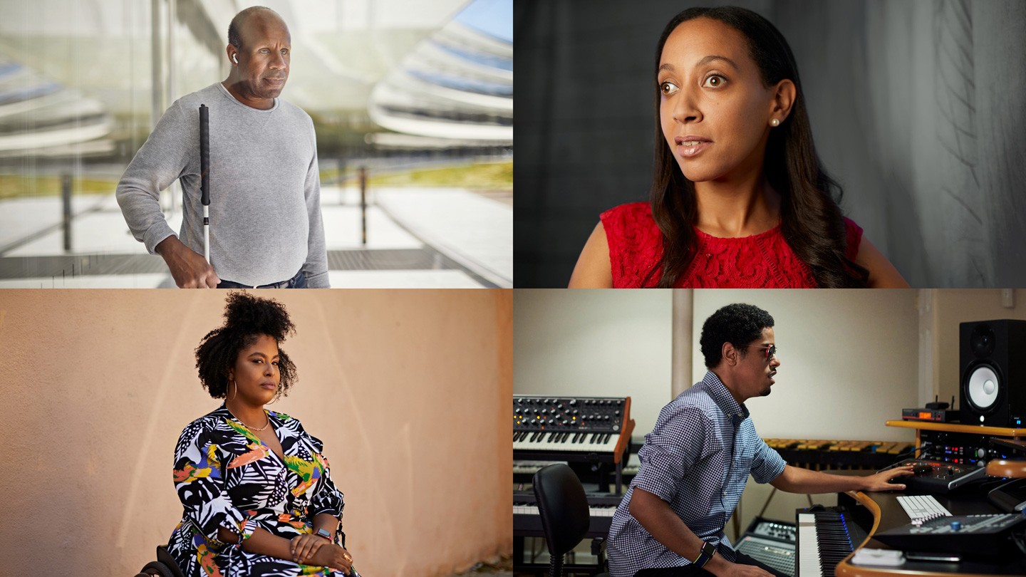 Arranged in a grid, four portraits featuring, clockwise from top left, Dean Hudson, Haben Girma, Matthew Whitaker, and Tatiana Lee.