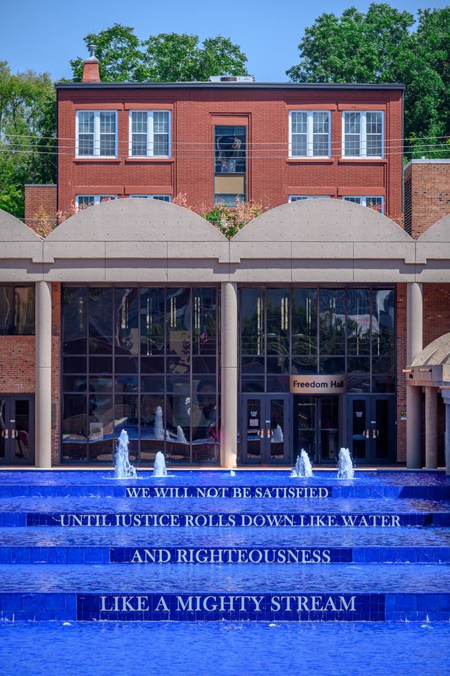 Reflecting pool with quote by Dr. Martin Luther King Jr. at The King Center in Atlanta, Georgia.