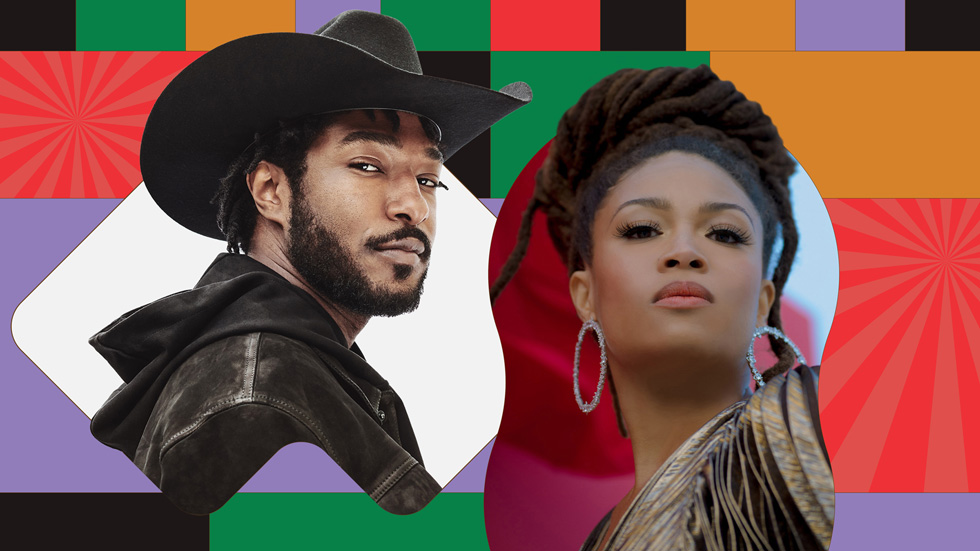 Graphic illustration featuring headshots of Willie Jones and Valerie June.