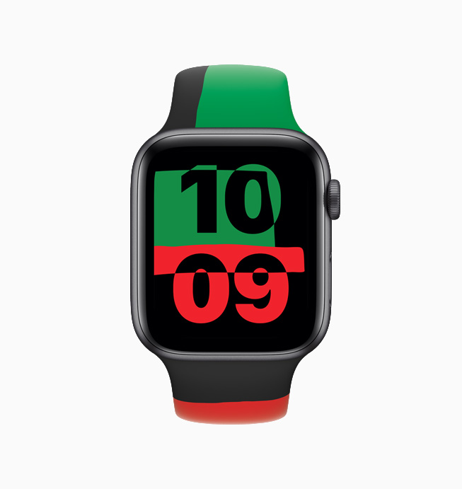 Front-facing Apple Watch Series 6 Black Unity displaying the Unity watch face.