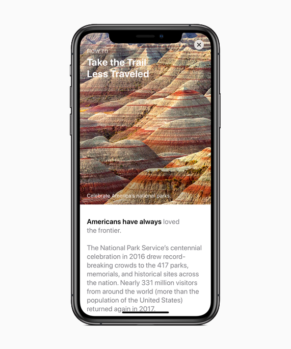 iPhone showing National Parks content.