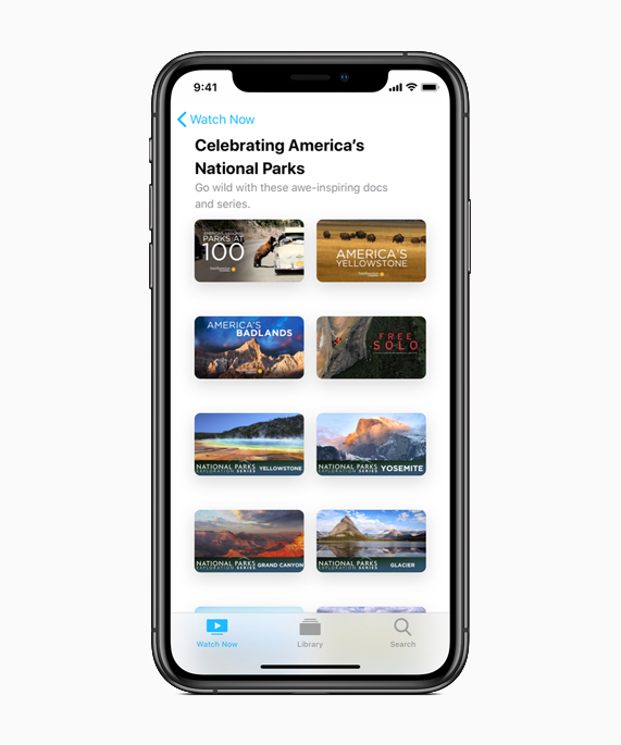 iPhone showing National Parks content on Apple TV.