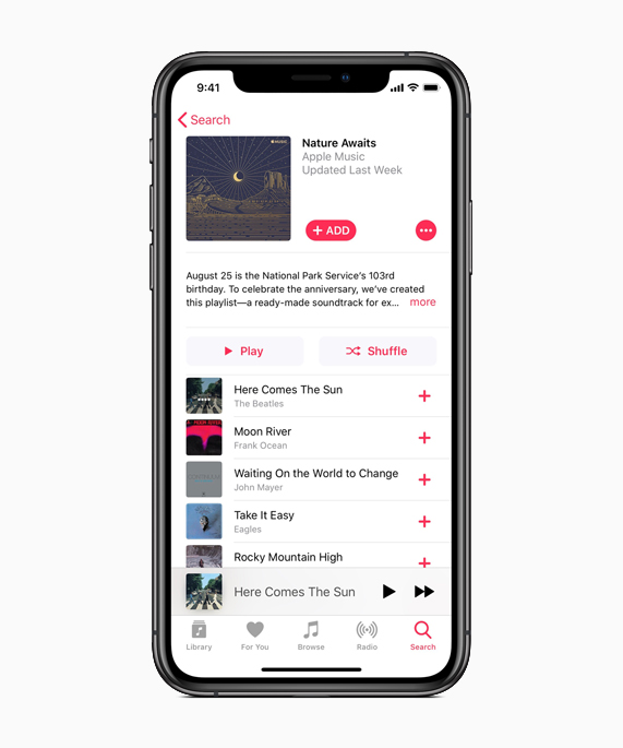 "iPhone showing ""Nature Awaits"" playlist on Apple Music."