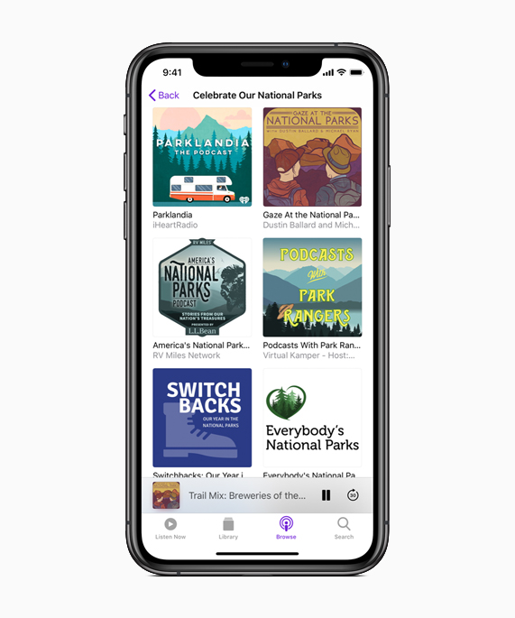 iPhone showing National Parks content on Apple Podcasts.