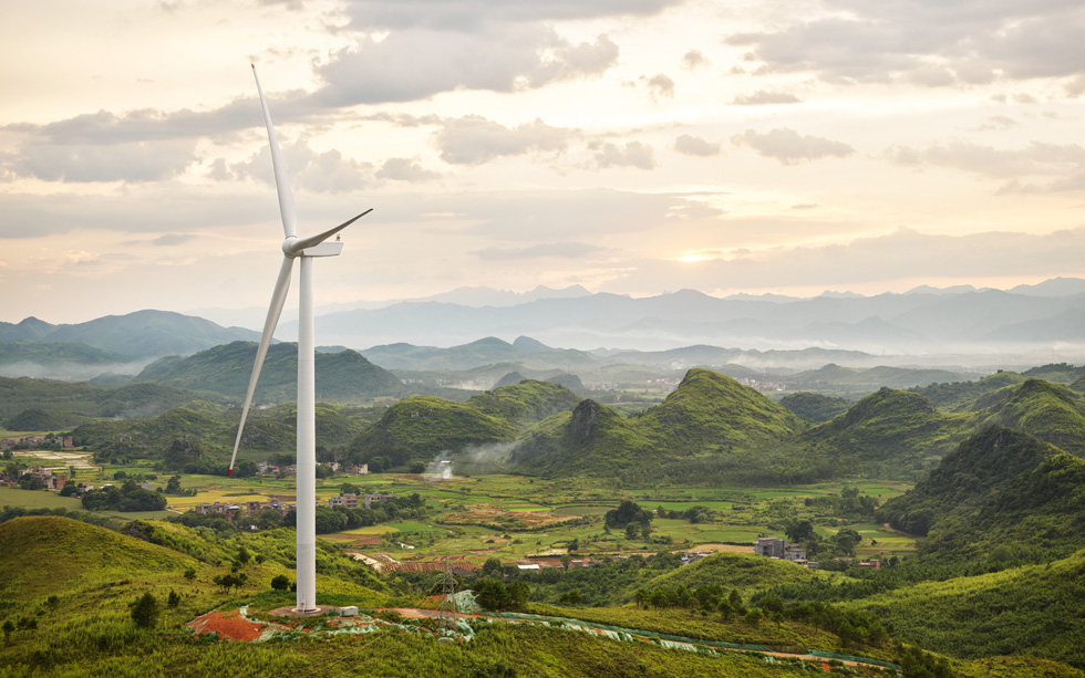 A wind turbine in Dao County in Hunan, China.