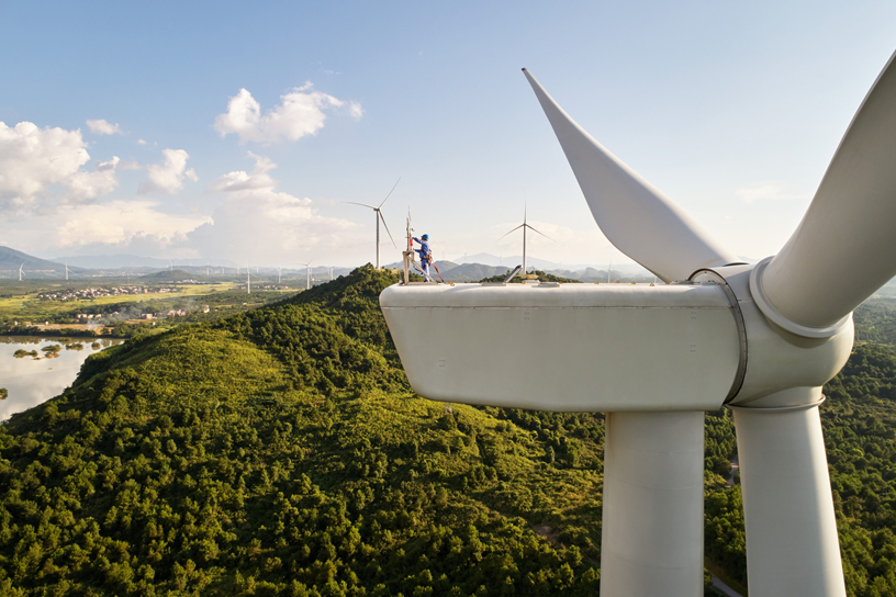 Eine Windturbine im Windpark Concord Jing Tang im Dao County in Hunan, China.