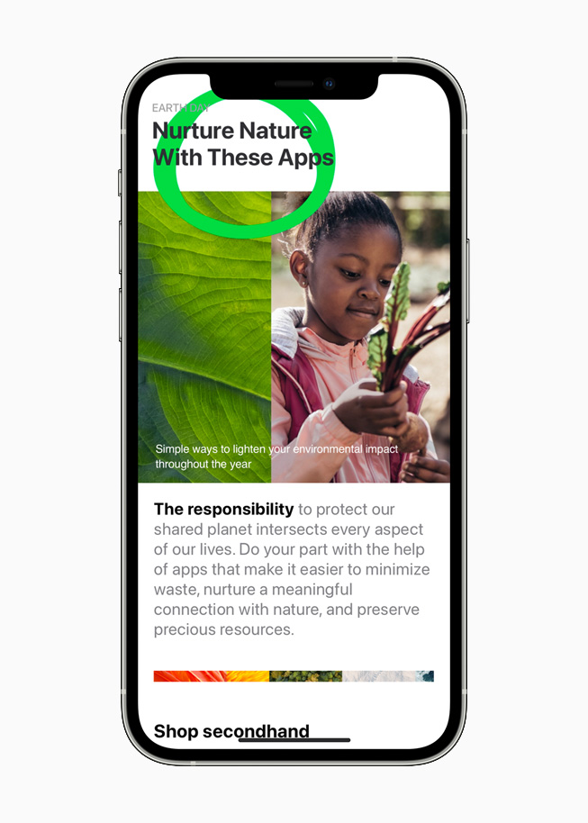 Eco-conscious apps on the App Store, displayed on iPhone 12 Pro.