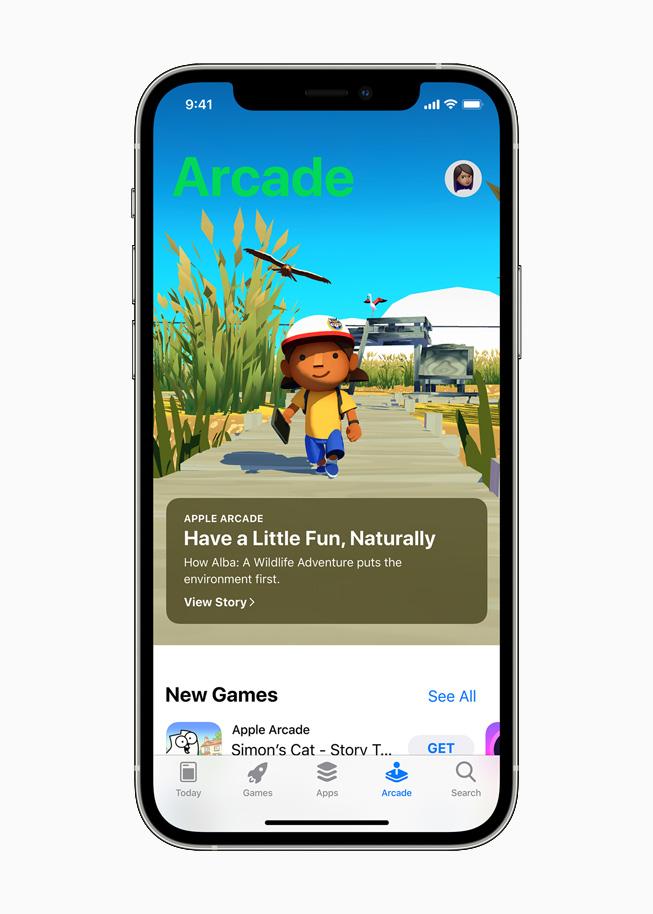 """Alba: A Wildlife Adventure"" on Apple Arcade, displayed on iPhone 12 Pro."