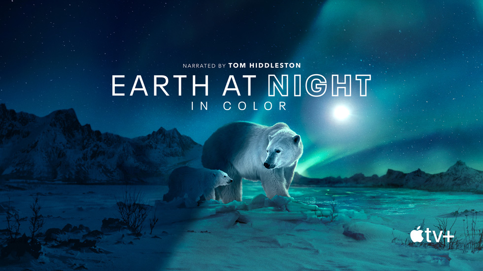 """Title card for the Apple Original series """"Earth At Night In Color."""""""