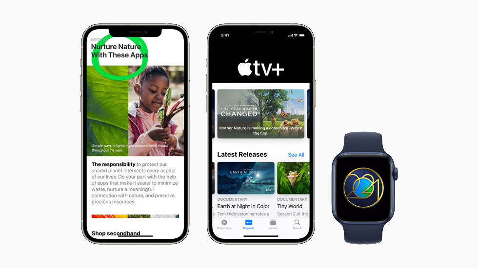 Apple's Earth Day programming on the App Store, Apple TV+, and Apple Fitness+, displayed on two iPhone 12 Pro models and Apple Watch Series 6.