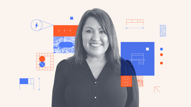 An illustrated portrait of Maria Castellon, founder and CEO of Bench-Tek Solutions.