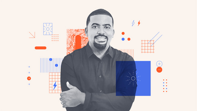 An illustrated portrait of Gilbert Campbell III, co-founder and CEO of Volt Energy Utility.