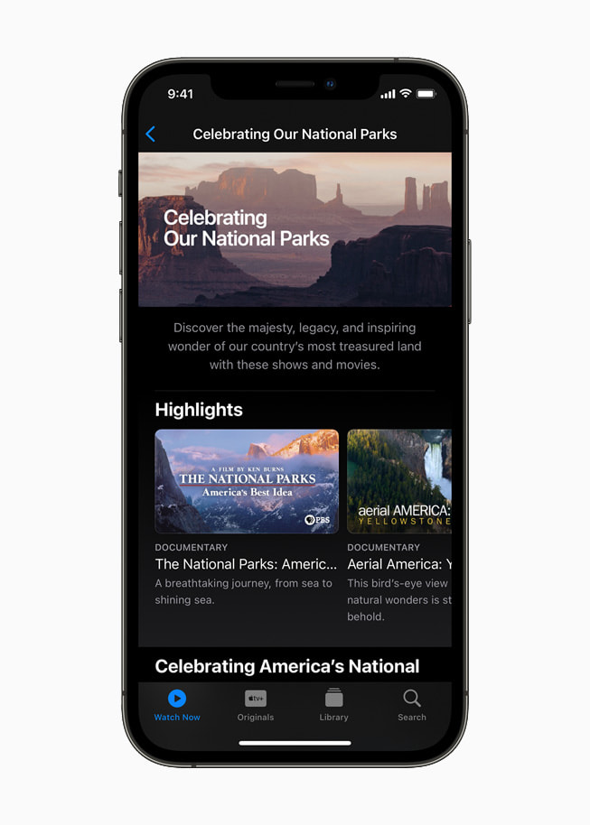 Watch Now collection on the Apple TV app spotlighting national parks on iPhone 12 Pro.
