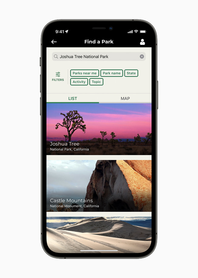 Find a Park feature on the official National Park Service app on iPhone 12 Pro.