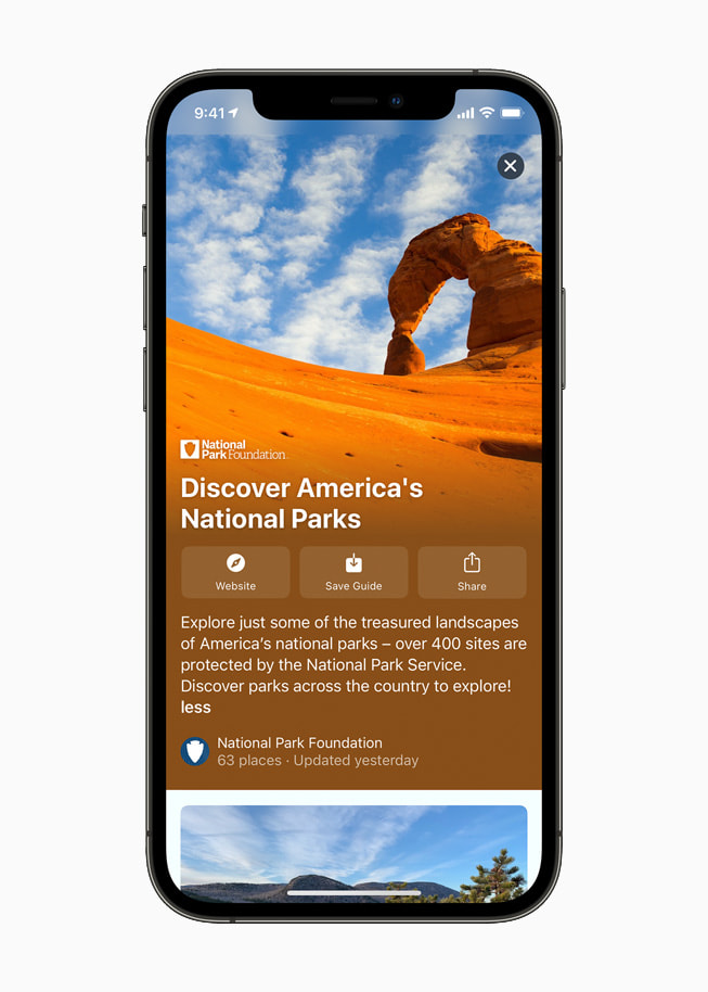 Guides in Maps of Discover America's National Parks on iPhone 12 Pro.