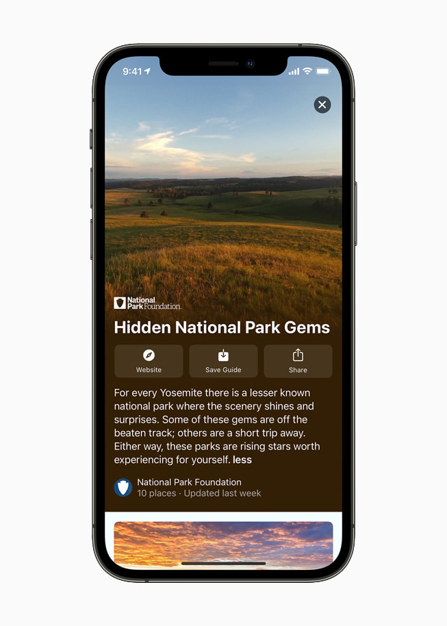 Guides in Maps of Hidden National Park Gems on iPhone 12 Pro.