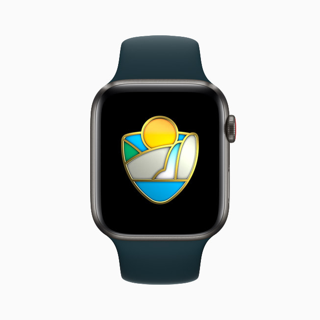Limited edition national parks Activity Challenge award displayed on Apple Watch Series 6.