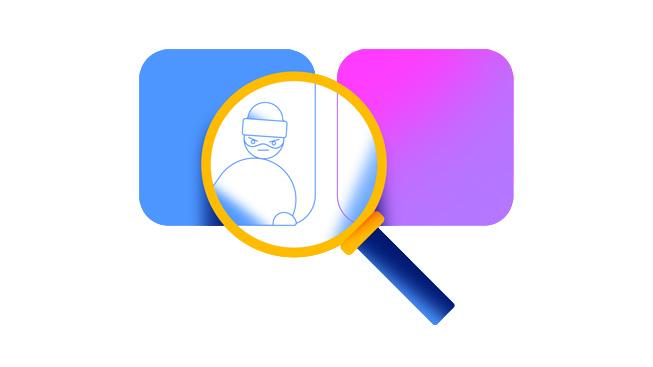 Ett förstoringsglas avslöjar en tjuv bakom en appsymbol, som representation av bedrägliga betyg och recensioner.