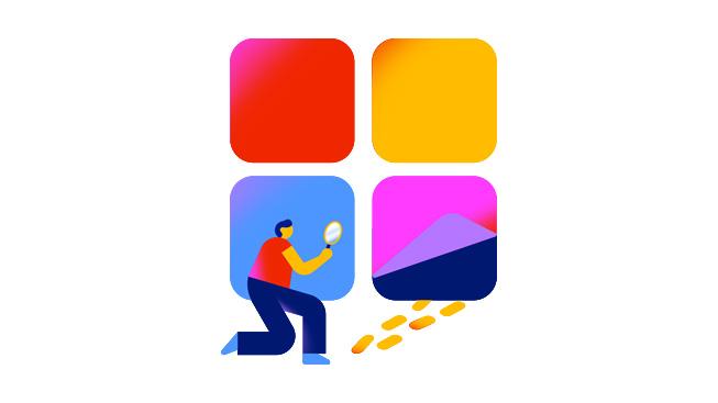 En figur med ett förstoringsglas synar fotspår som en symbol för Apples proaktiva åtgärder för att rensa bort bedrägerier från AppStore.