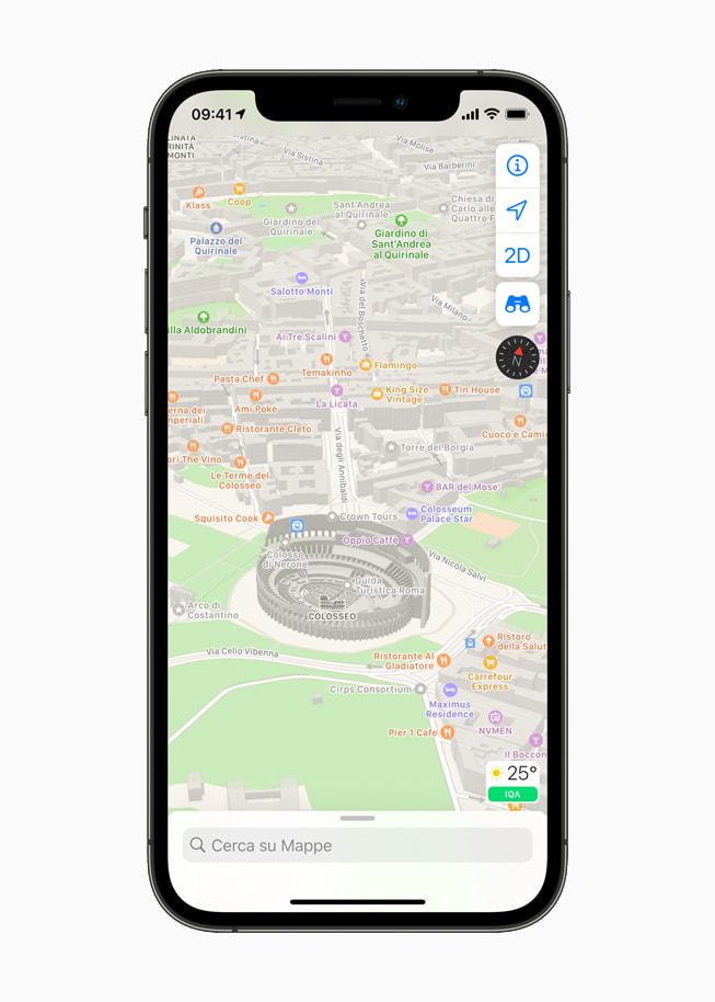 Mappe di Apple con una vista di Roma con il Colosseo.
