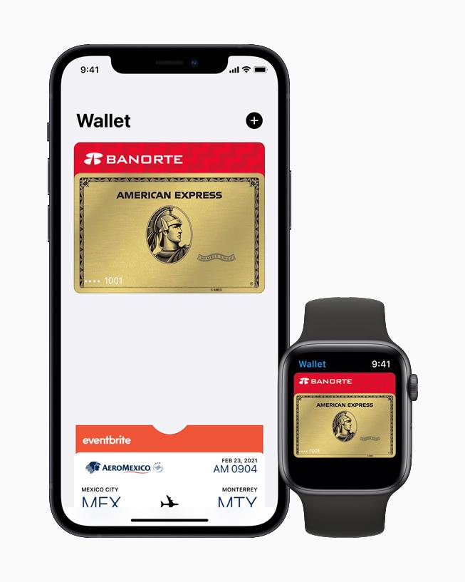 Apple Wallet en iPhone y Apple Watch.