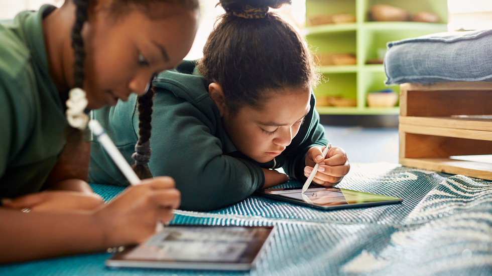 Bromley School students using iPad with Apple Pencil.
