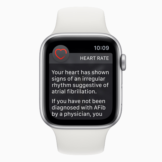 The heart rate notification screen displayed on Apple Watch.