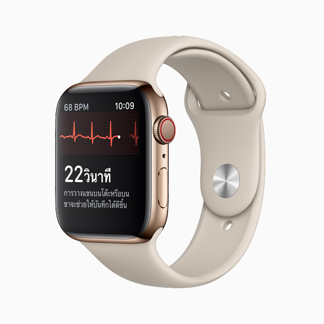 อินเทอร์เฟซของแอพ ECG บน Apple Watch Series 6