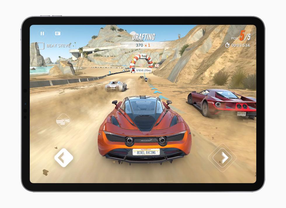 Hutch Games's Rebel Racing game, displayed on iPad Pro.