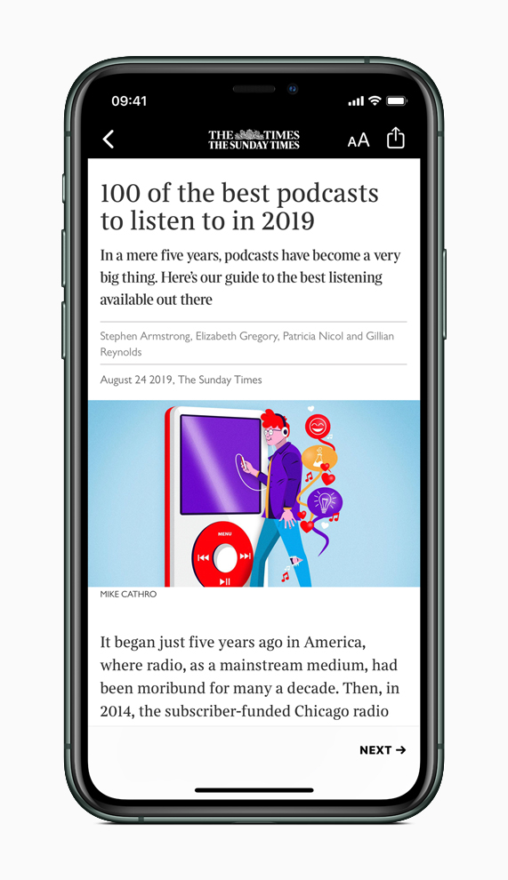 iPhone showing Apple News+ article screen.