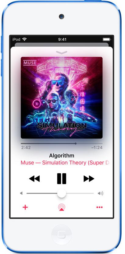 Снимок экрана громкости воспроизведения на iPod